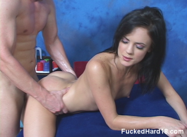 Hot brunette massaged then fucked hard by her therapist from Fucked Hard 18